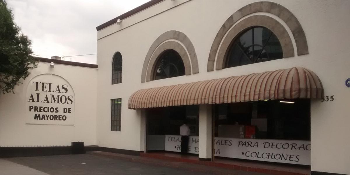 Fachada tienda Alamos telas y materiales textiles Colonia Alamos, CDMX
