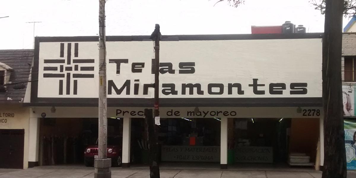 Fachada tienda Miramontes telas y materiales textiles CDMX, Col. Avante.