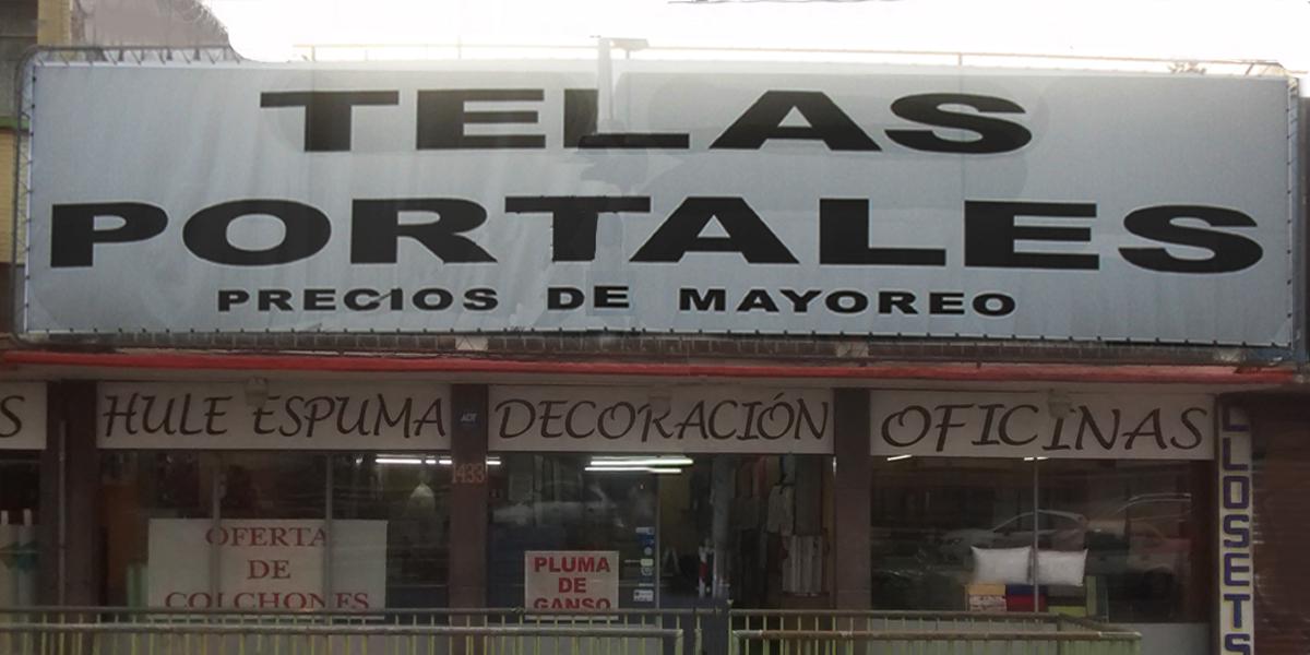 Fachada tienda portales telas y materiales textiles df