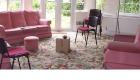 img salas tapicería telas materiales diseños en color rosa